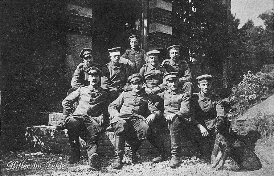 Adolf Hitler (bottom left) with his WWI comrades in Fournes-en-Weppes, France