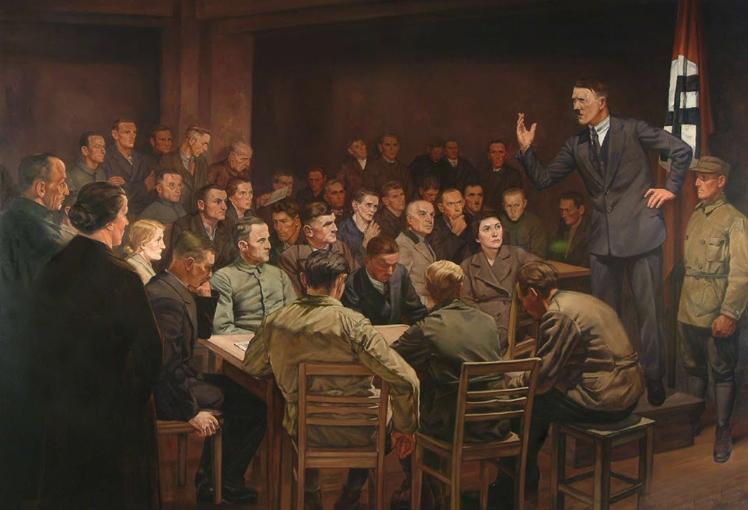 Adolf Hitler makes his first speech to the DAP (German Workers Party) in front of 111 participants in Munich's Hofbräukeller (artist view by Hermann Otto Hoyer entitled In the Beginning Was the Word, ca. 1937)