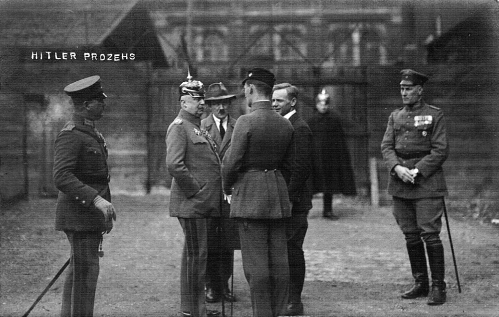 Adolf Hitler with Erich Ludendorff in Munich's Kriegsschule during his trial following the failed putsch