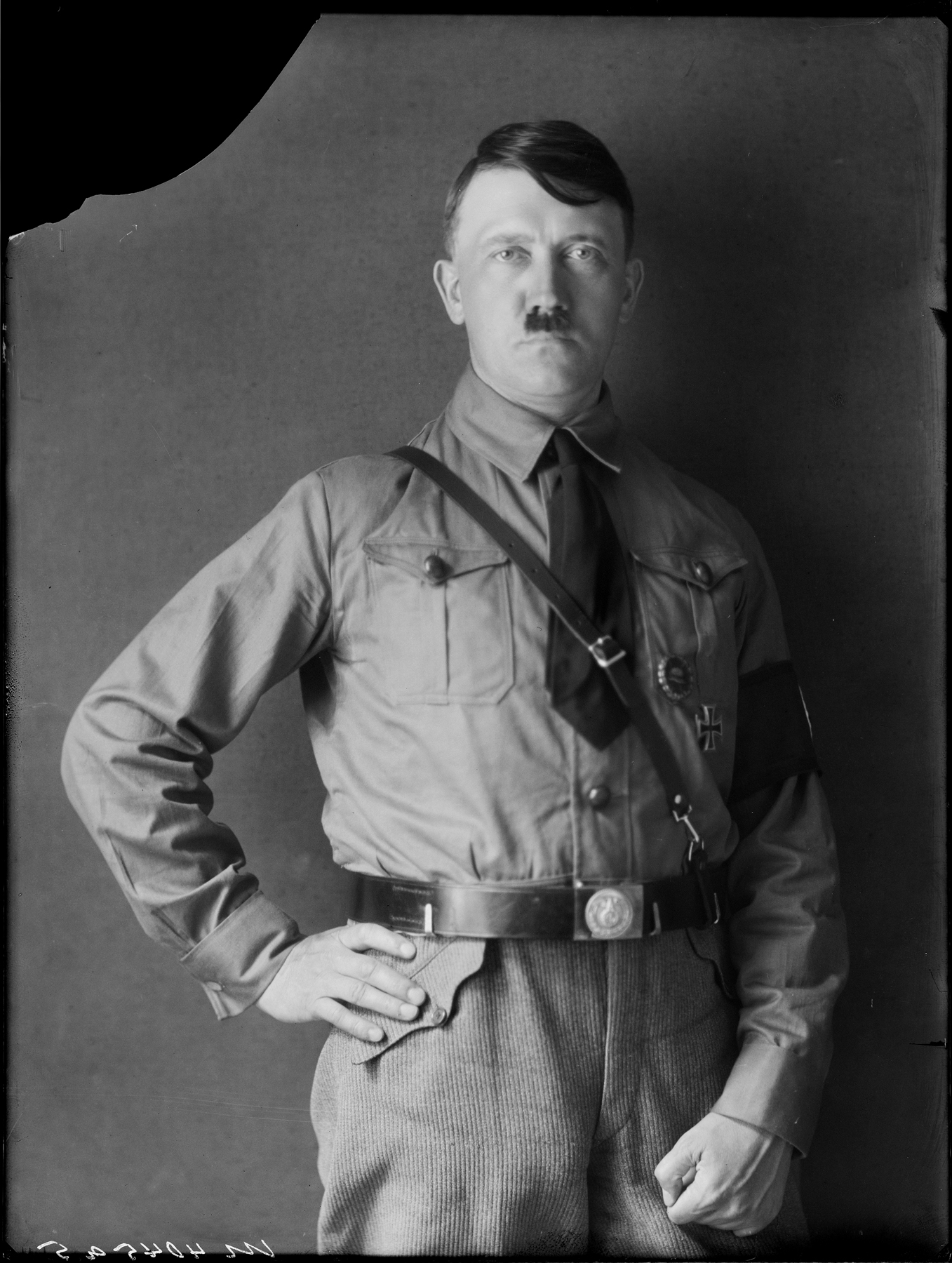 Portrait from a series a pictures taken in Heinrich Hoffman's studio in Munich, showing Adolf Hitler in SA uniform (approximate date)