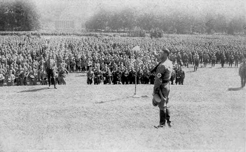 Adolf Hitler gives a speech in front of the SA in Luitpoldhain for the 1929 Reichsparteitag