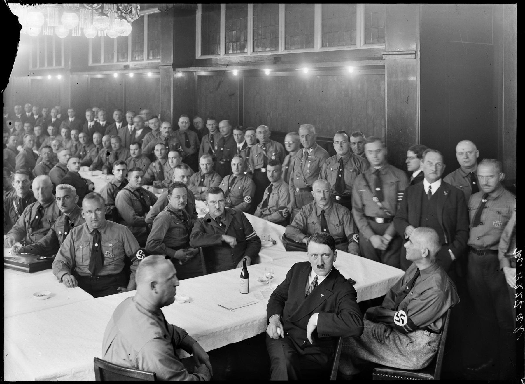 Adolf Hitler with 107 Reichstag Delegates (Heinrich Hoffmann photo)