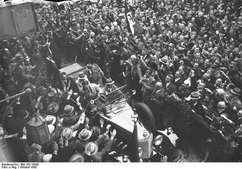 Adolf Hitler arriving at the Haus Elephant in Weimar, with Schreck, Hess, Dietrich and Hermann Esser