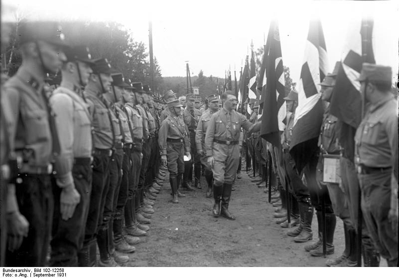 Adolf Hitler reviews SA troops in Gera's Gauparteitag