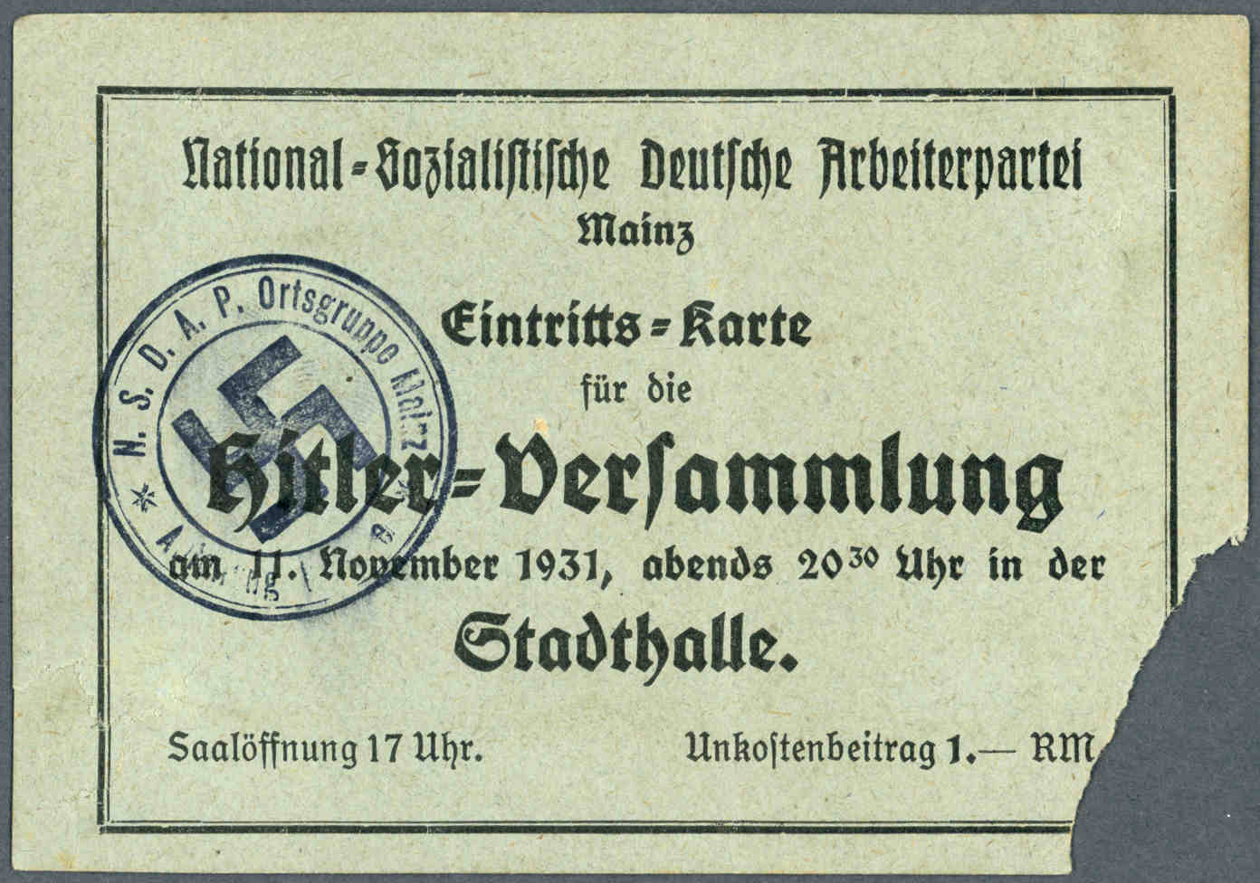 Ticket for a speech by Adolf Hitler in Mainz's Stadthalle in front of 20,000 participants