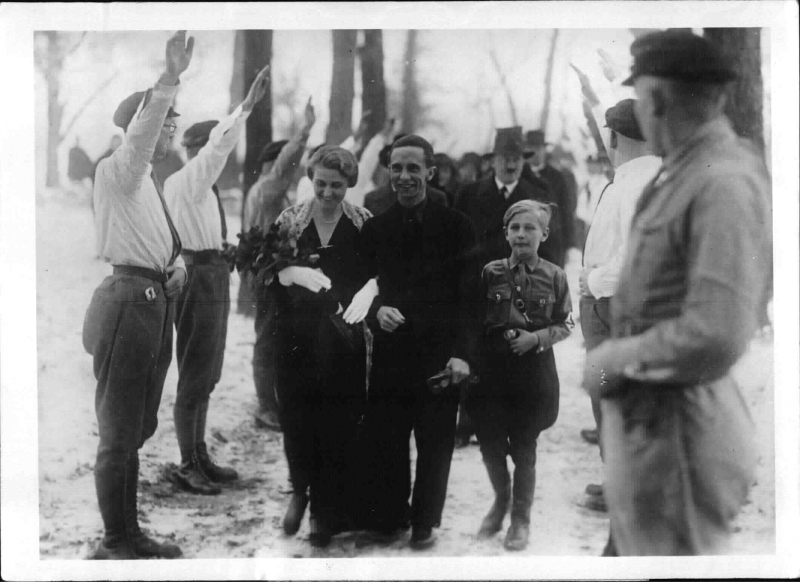 Adolf Hitler at the wedding of Joseph Goebbels and Magda Quandt in Severin