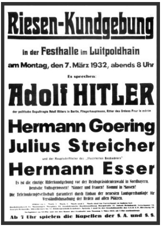 Poster advertising a speech in Nuremberg's Luitpoldhain