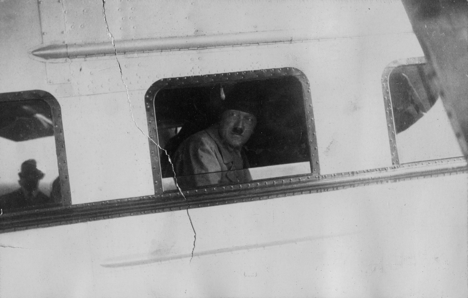 Adolf Hitler in his plane leaving Bremen