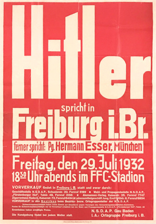 Poster announcing Adolf Hitler's electoral campaign speech in Freiburg on 29 July 1932