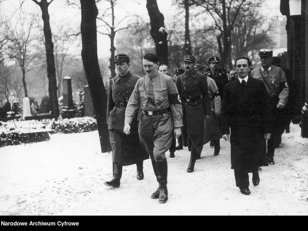 Adolf Hitler in Berlin at the ceremony for Horst Wessel in the Nikolaifriedhof with Joseph Goebbels and Prinz Auwi (the Kaiser's son)