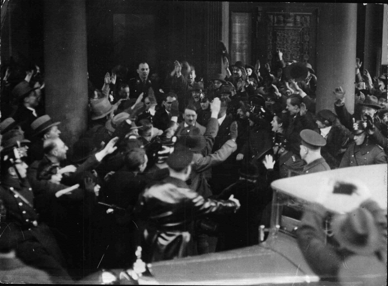 Adolf Hitler leaves Berlin's Hotel Kaiserhof after his appointment as chancellor