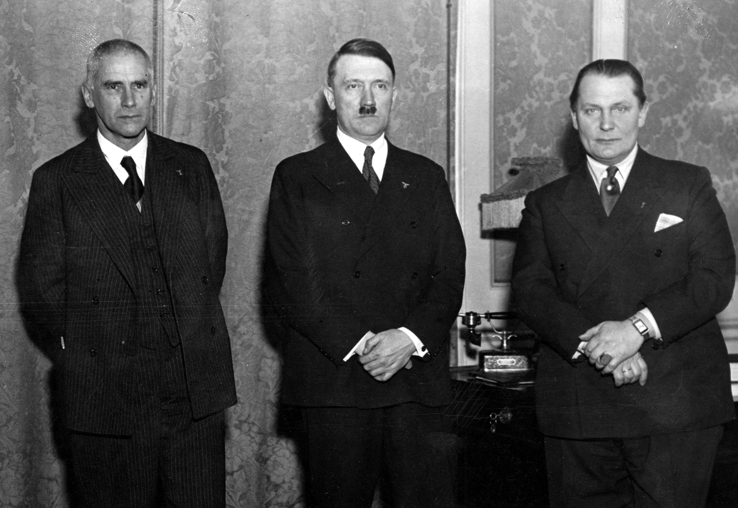 Wilhelm Frick, Hermann Göring, and Hitler on the day he was named Chancellor of Germany
