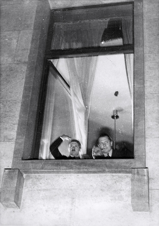 Adolf Hitler at the window of the chancellery after he was named chancellor of Germany