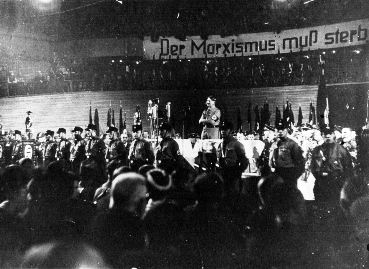 Adolf Hitler gives his first public speech as chancelor in Berlin's Sportpalast