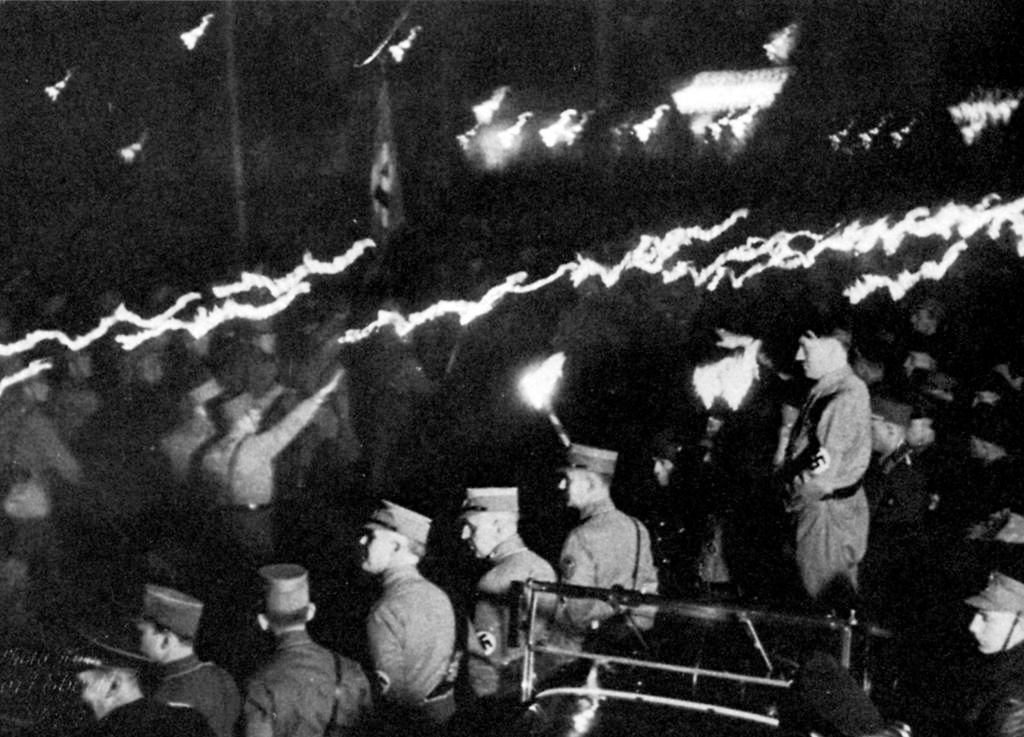 Adolf Hitler at the torchlight procession in Kassel for the inauguration of the Adolf-Hitler-Hauses