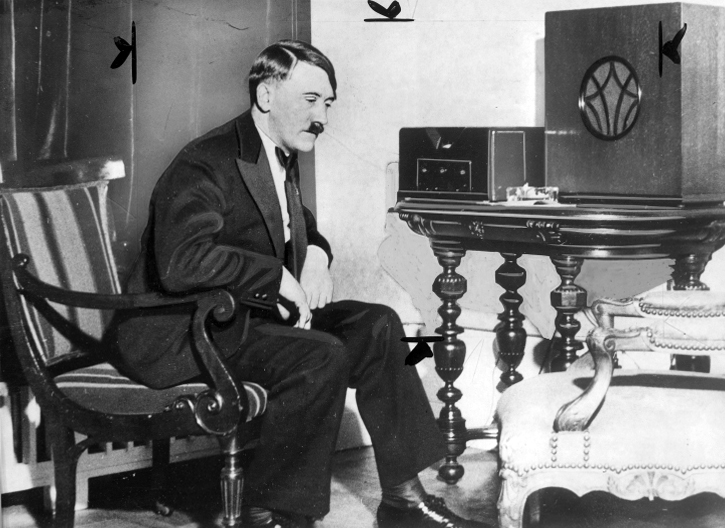 Adolf Hitler listens to the results of the Reichstagswahl elections in Berlin