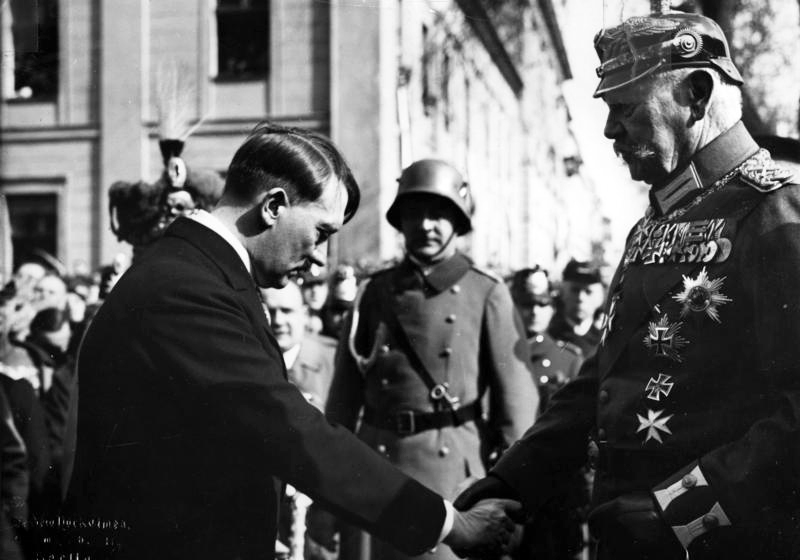 Adolf Hitler with Paul von Hindenburg and Werner von Blomberg at Potsdam