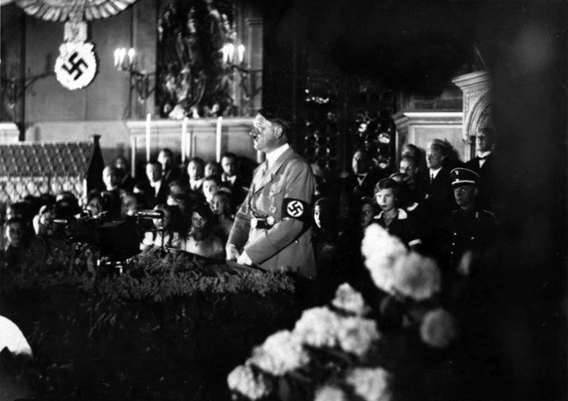 Adolf Hitler makes a speech in Nuremberg's town hall to open the fifth party rally