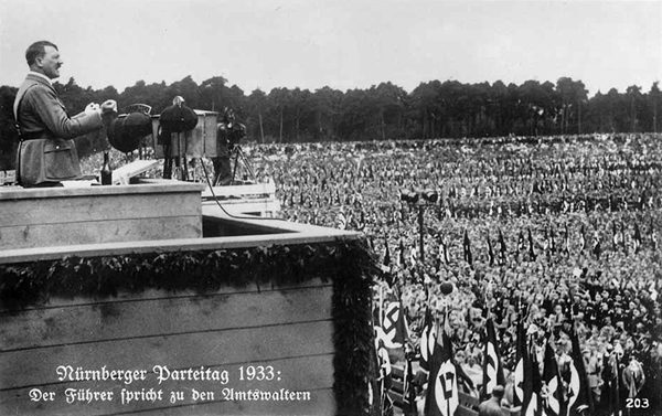 Adolf Hitler speaks at the Zeppelinfeld in Nuremberg