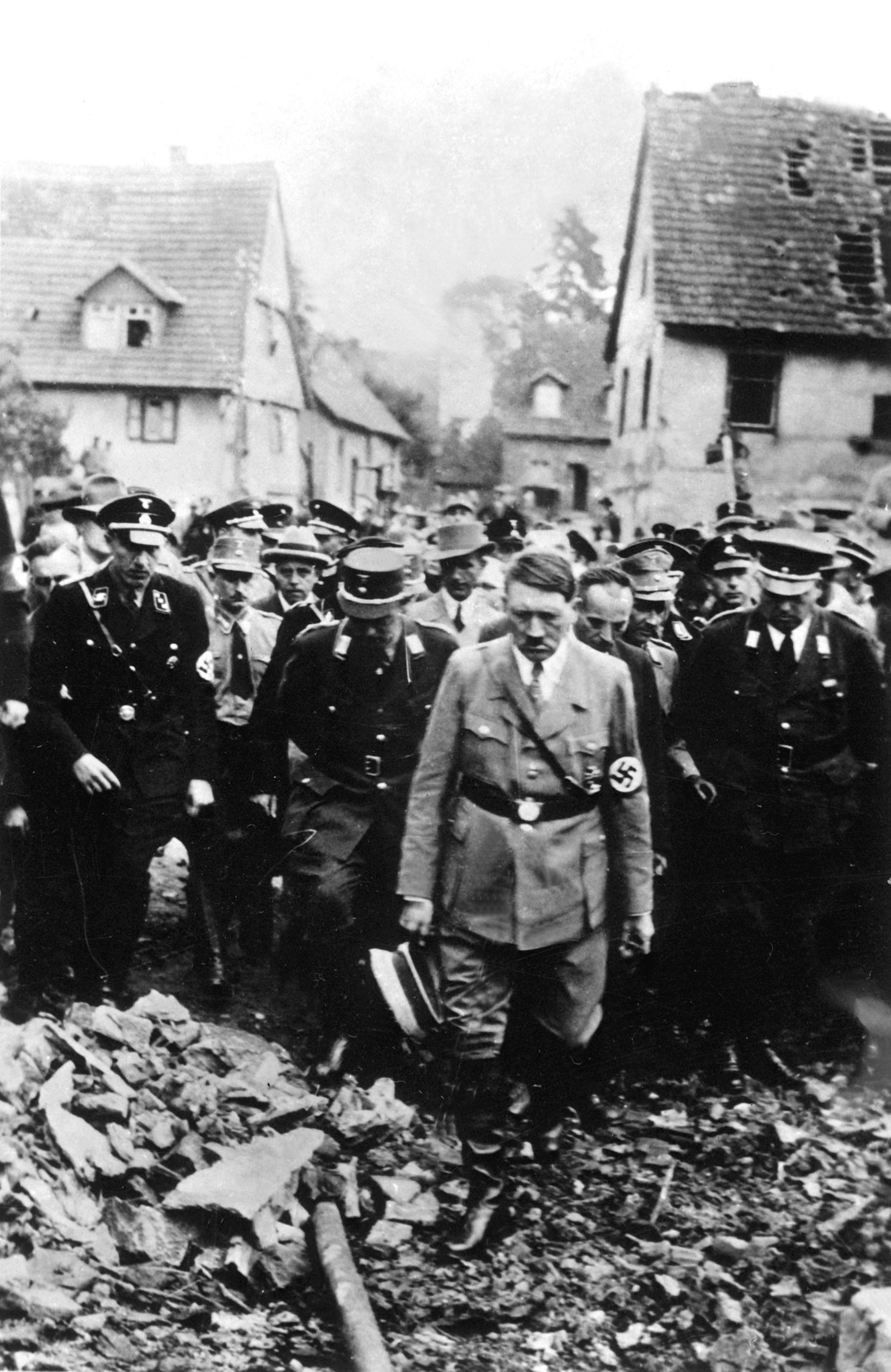 Adolf Hitler visits Oeschelbronn, Württemberg after a munitions plant explosion which destroyed 203 homes