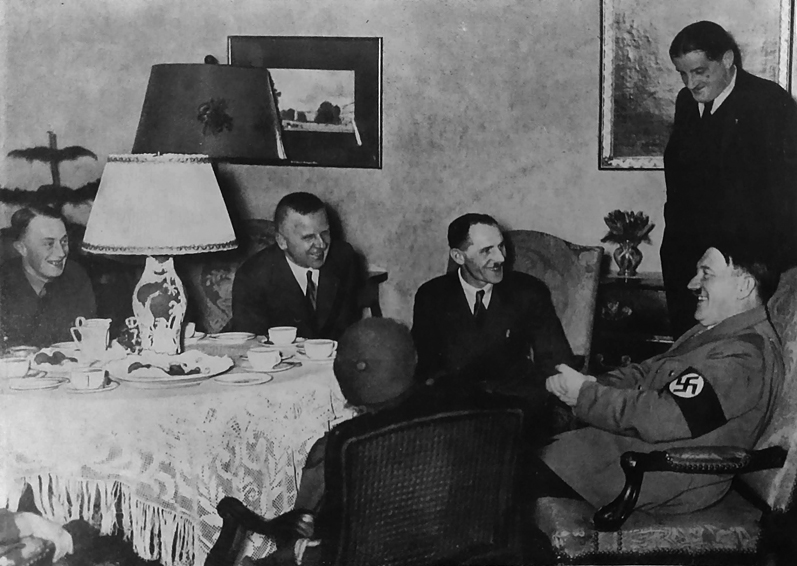 Adolf Hitler receives his war comrade Ignaz Westenkirchner and his family after he paid for their return to Germany from the USA