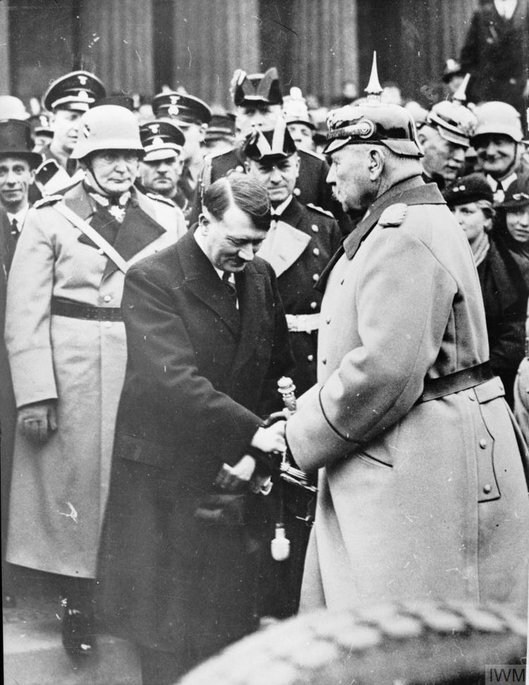 Adolf Hitler greets president von Hindenburg at the Heldengedenktag