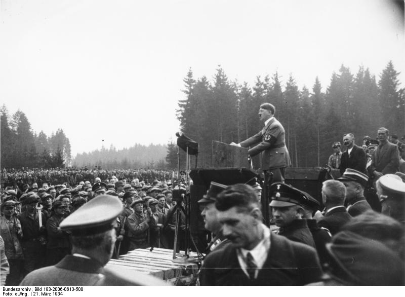 Adolf Hitler making a speech for the construction of the autobahn between München and Salzburg