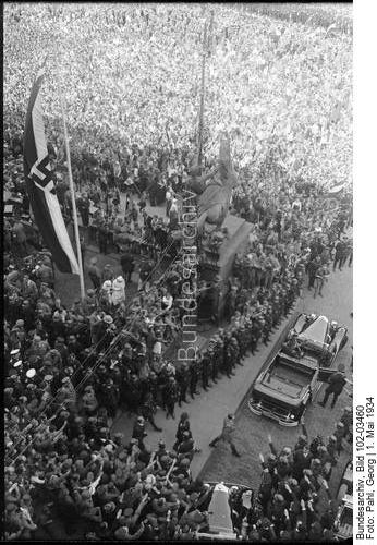 Adolf Hitler leaves Berlin's Lustgarden after his speech for May Day