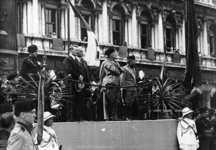 Hitler and Mussolini at the parade in Venice