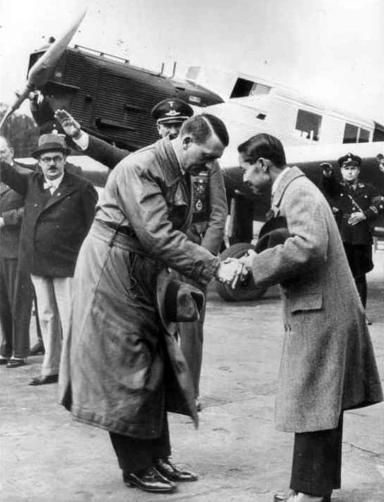 Adolf Hitler meets King Prajadhipok (Rama VII of Siam) and his wife at Tempelhof Airport in Berlin