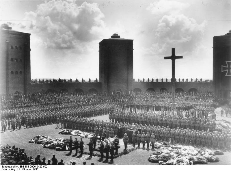 Adolf Hitler speaking at Paul von Hindenburg's burial site at the Tannenberg Memorial, East Prussia