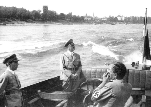 Adolf Hitler and his photographer Heinrich Hoffmann on the Rhine near Bad Godesberg