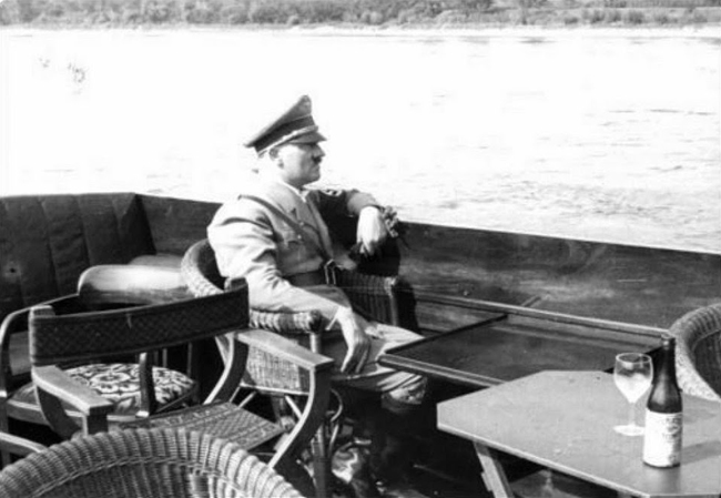 Adolf Hitler during a cruise on the Rhine