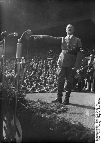 Adolf Hitler during his speech to the HJ during the 1934 Reichsparteitag