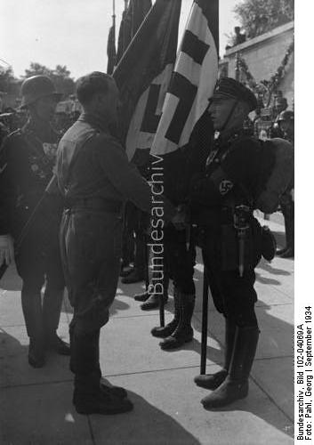 Adolf Hitler and Jakob Grimminger at the 1934 flag consecration