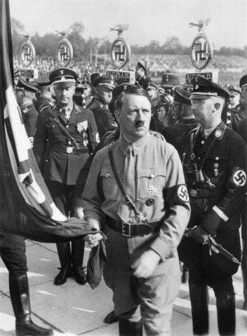 Adolf Hitler and Heinrich Himmler at the 1934 flag consecration