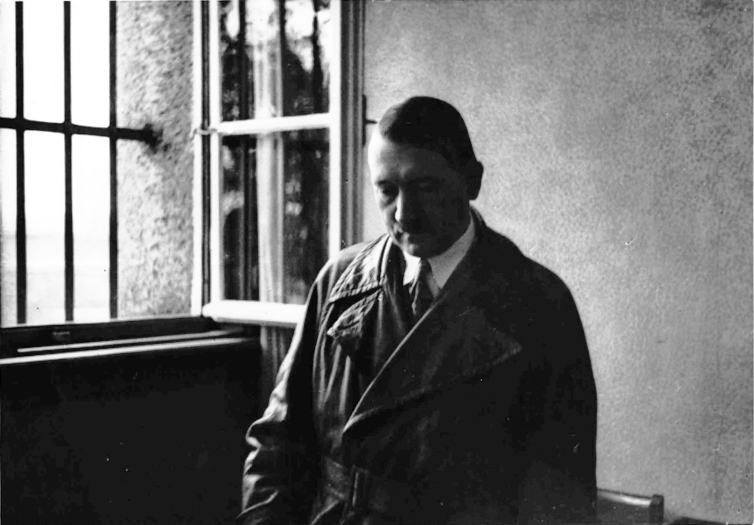 "Adolf Hitler during a visit at Landsberg Prison, where he wrote ""Mein Kampf"" during his imprisonment in 1924"