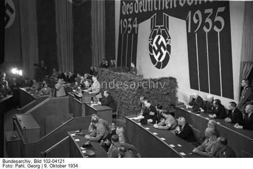 Adolf Hitler makes a speech for the opening of the 1934 Winterhilfswerk