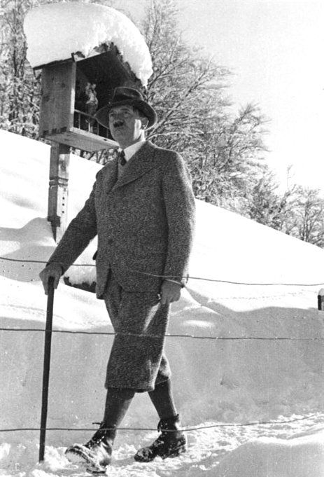 Hitler on a walk on the Obersalzberg in January 1935