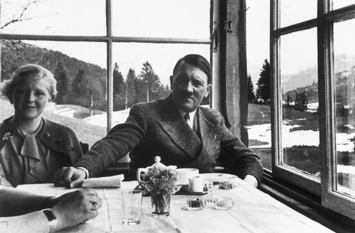 Adolf Hitler taking tea with Eva Braun in the Aule Alm restaurant in Garmisch-Partenkirchen, from Eva Braun's albums
