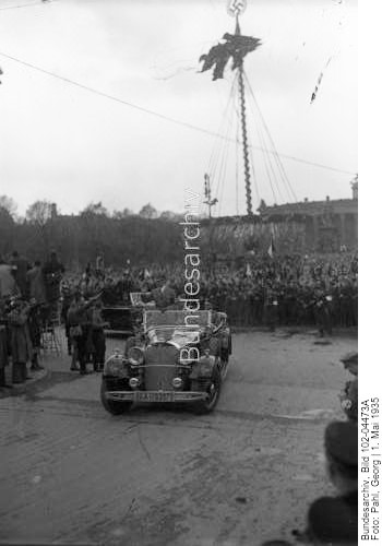 Adolf Hitler arrives in his Mercedes for the main manifestation of May Day in the Berlin Lustgarten