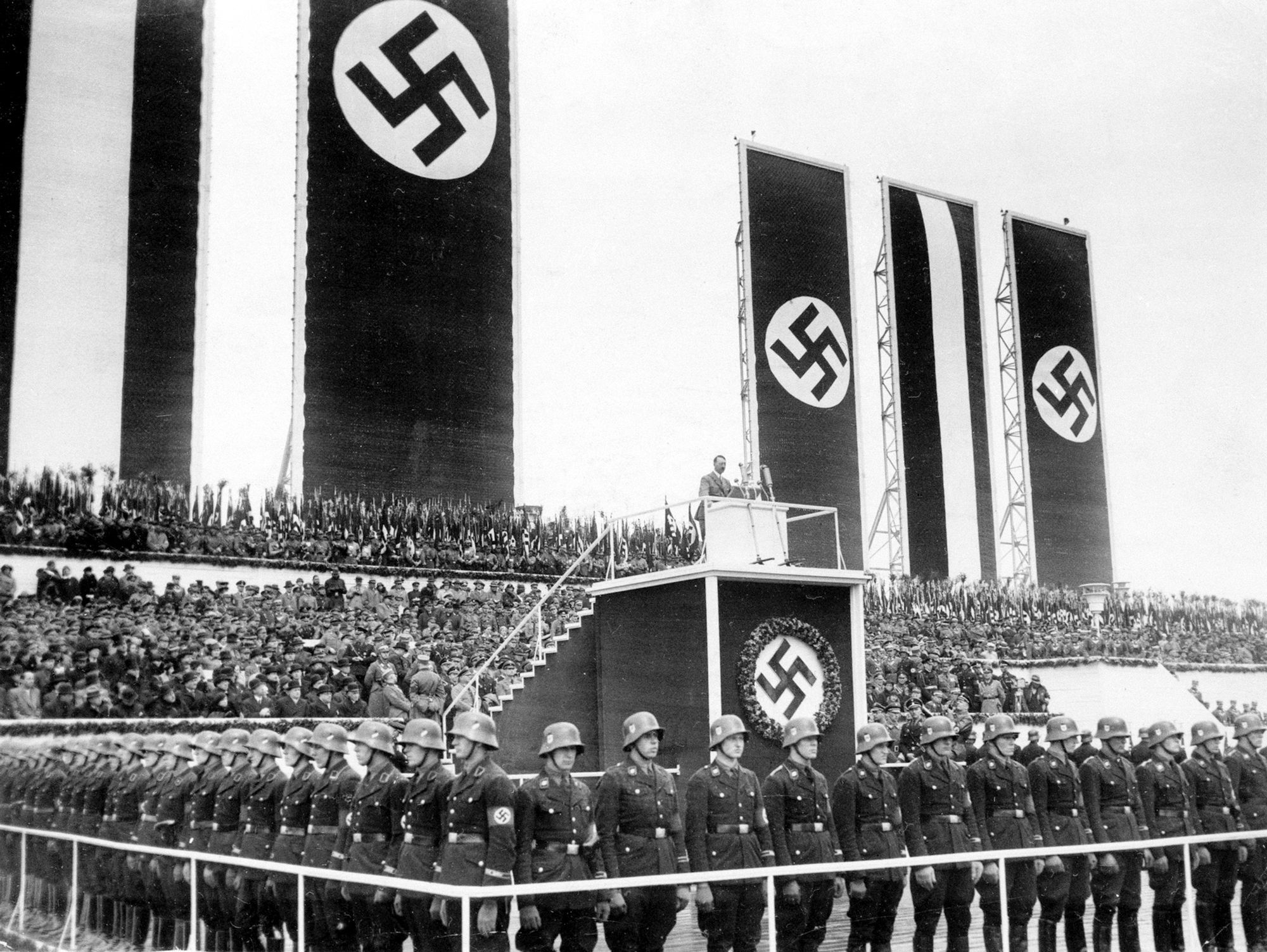 Adolf Hitler gives a speech in Berlin's Tempelhof field for May Day