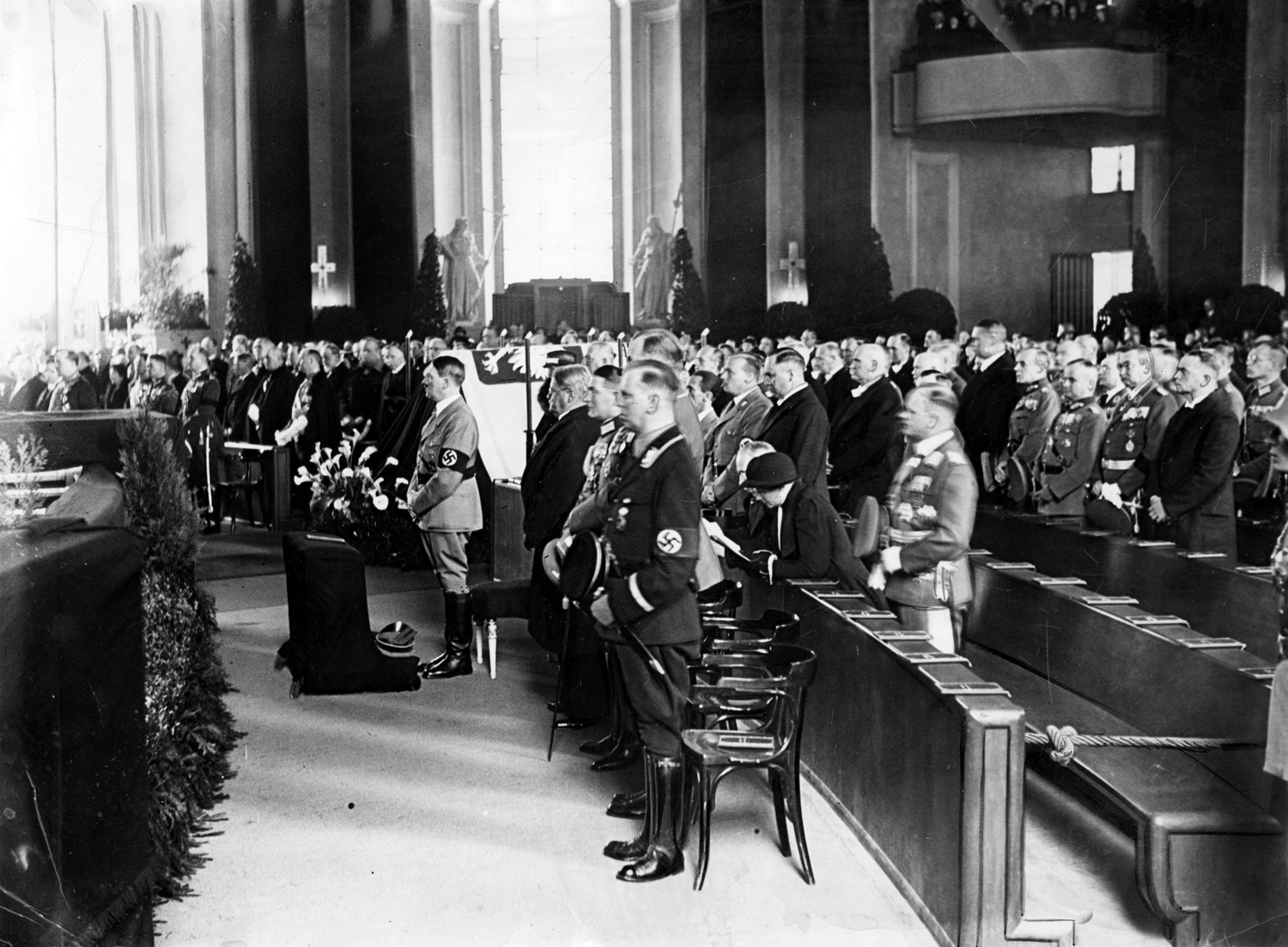 Adolf Hitler at the memorial service of the Polish First Marshal Jozef Pilsudski in Berlin