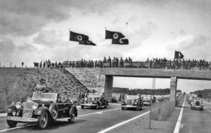 Adolf Hitler in his Mercedes inaugurates the new Autobahn between Frankfurt and Darmstadt