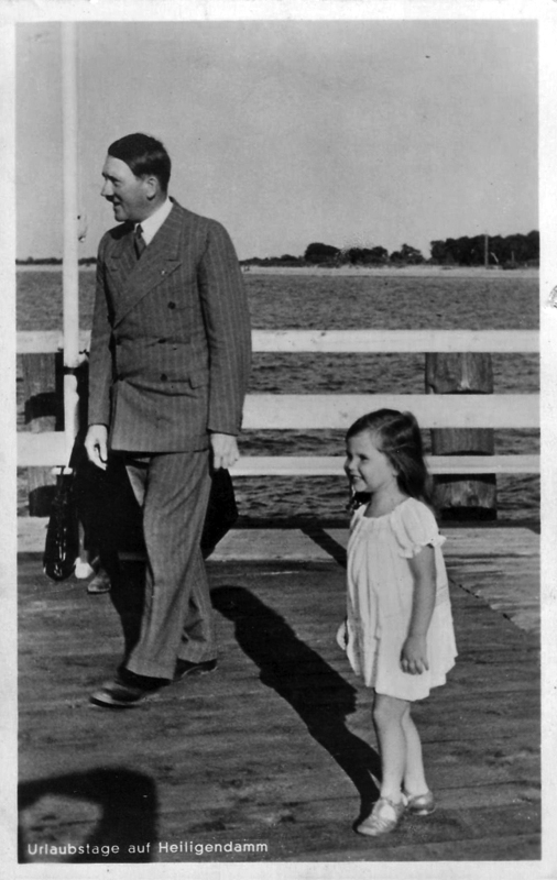 Adolf Hitler with Helga Goebbels during a walk at Heiligendamm