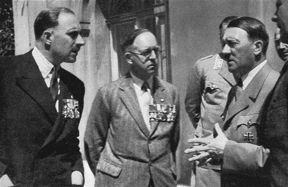 Adolf Hitler and Rudolf Hess meet members of the British Legion in Berlin, with the British Legion chairman, Major Francis Fetherston-Godley