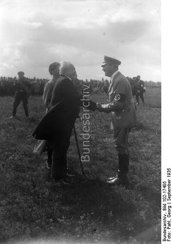 Adolf Hitler greets Karl Litzmann during the army manoeuvers in Lüneburger Heide