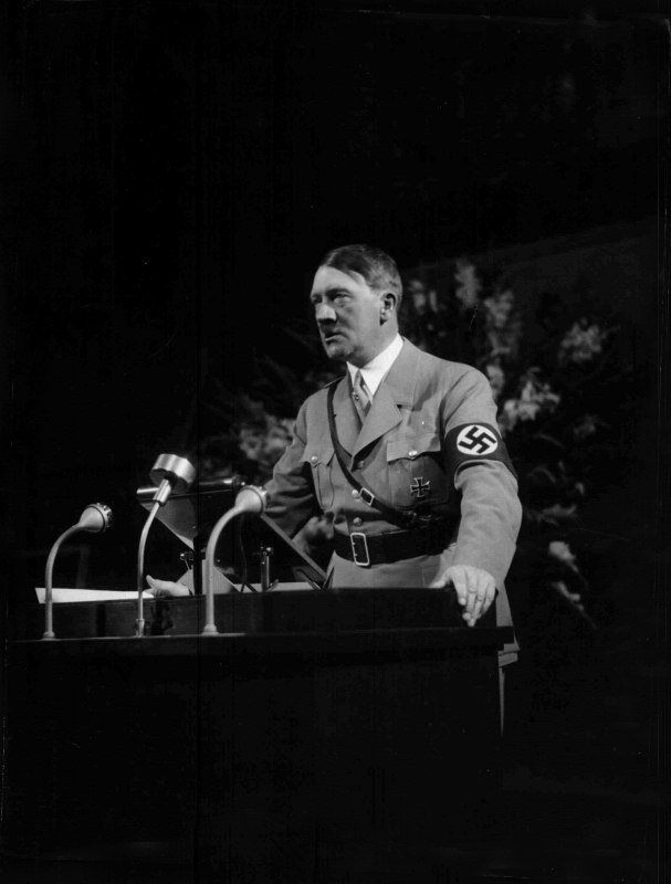 Adolf Hitler at his welcoming speech for Party leaders in Nuremberg