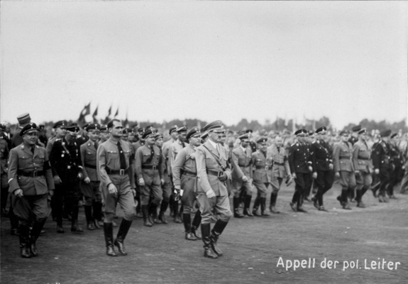 Adolf Hitler arrives at the Zeppelinfield for the call of the Politischen Leiter in Nuremberg