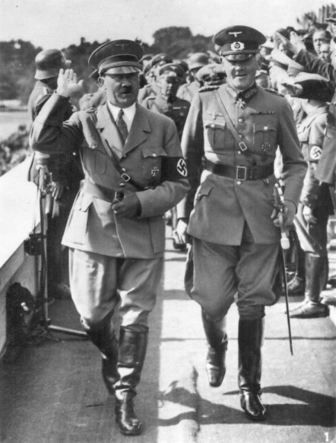 Adolf Hitler and Werner von Blomberg at the Tag der Wehrmacht in Nuremberg